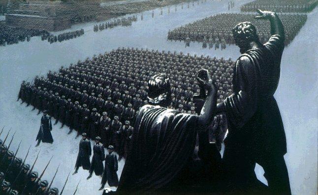 Войска пролходят по красной площади перед отправкой на фронт. 1941 г открытки фото рисунки картинки поздравления