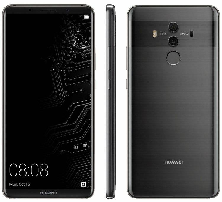 Расширенные характеристики Huawei Mate 10 Pro иновый рендер вчерном