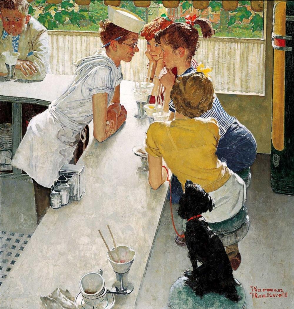 Эту идею Роквелл взял из рассказов своего сына, который работал в летнем кафе. Юные леди любили прих