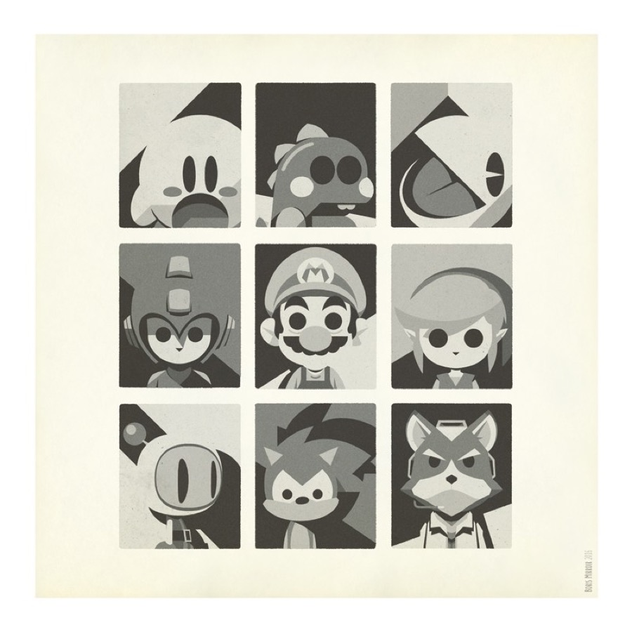 Minimalist Print of Heroes & Vilains in Video Games