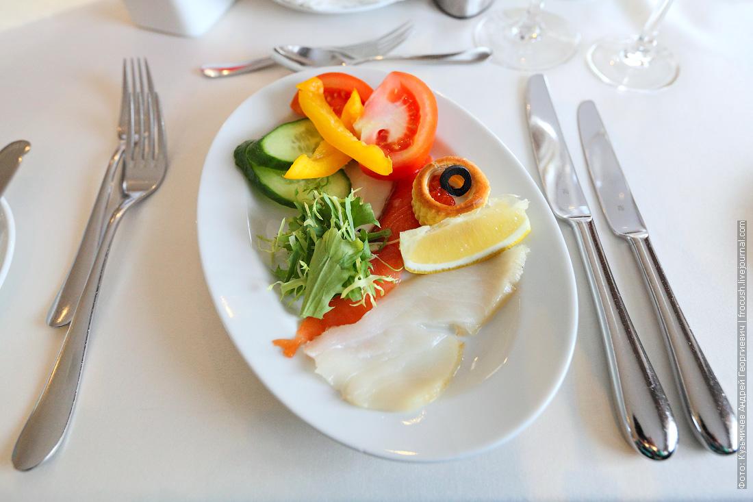Овощная закуска, рыбное ассорти