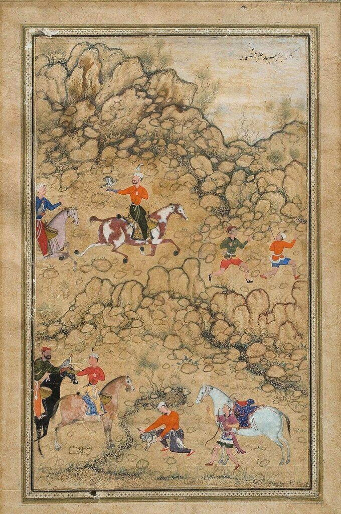 800px-Abd_al_Samad__Prince_Akbar_and_Noblemen_Hawking,_ca__1555–58_Catherine_and_Ralph_Benkaim_Collection.jpg