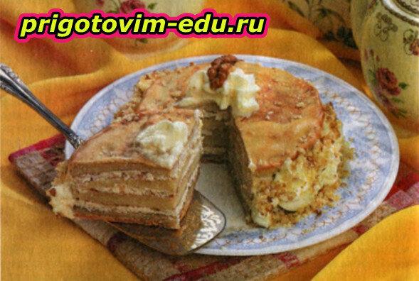 Масленичный пирог с творожной начинкой