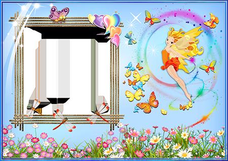 Рамка для фото с летящей феей среди цветов и бабочек