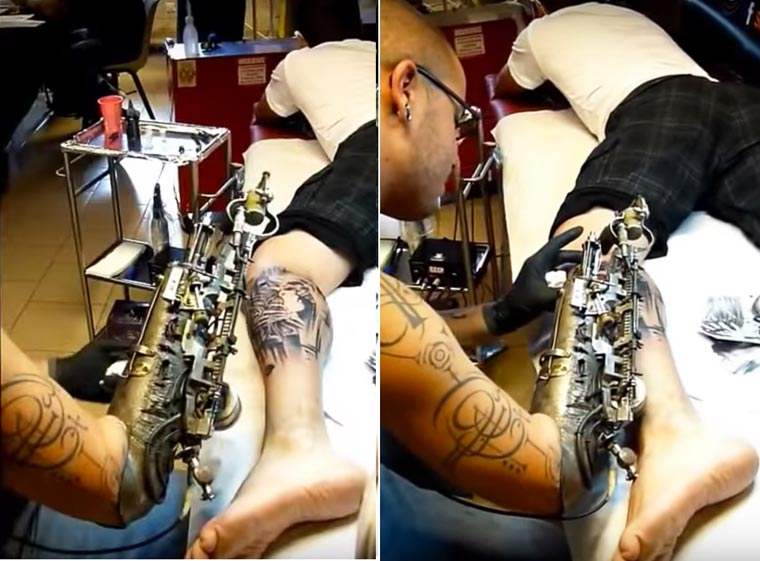 He combines a tattoo machine and a prosthesis for an amputee tattooist
