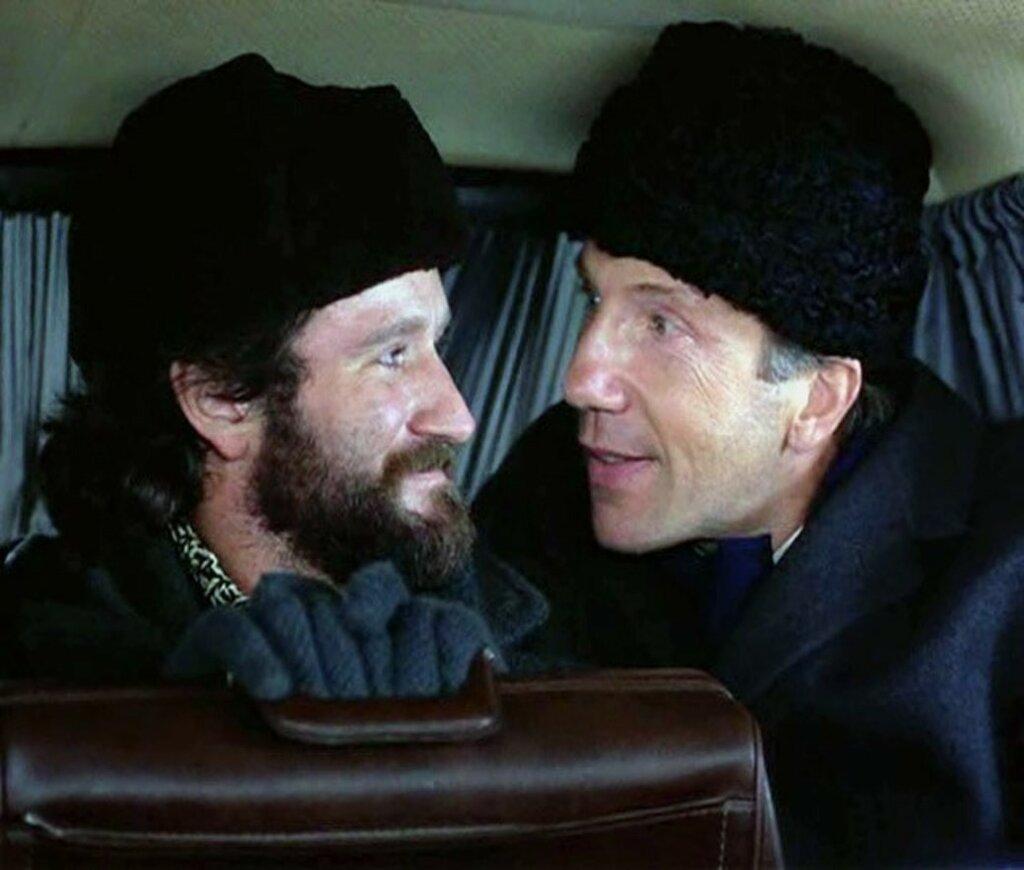 """Савелий Крамаров и Робин Уильямс на съемках фильма """"Москва на Гудзоне"""", США, 1984 год."""