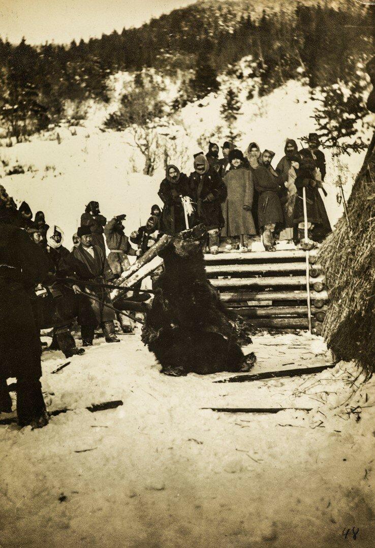 На медвежьем празднике айнов о.Сахалина. Второй день — выведение медведя