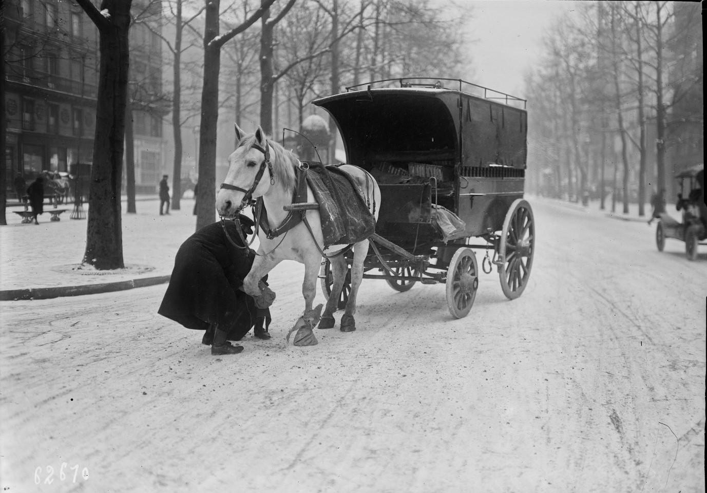 1920. На заснеженной парижской улице в декабре