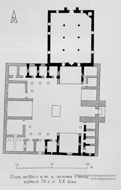 План мечети Узбека и медресе