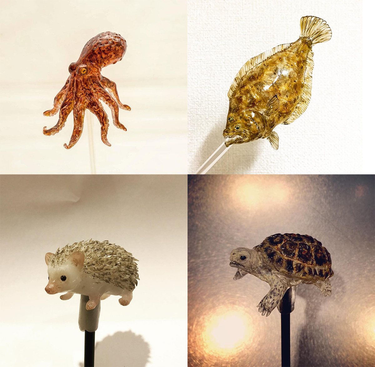 New Edible 'Amezaiku' Animal Lollipop Designs by Shinri Tezuka