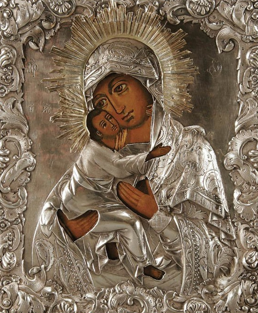 A RUSSIAN ICON The Vladimir Mother of God, 18th.