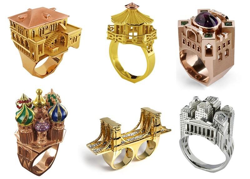 3. Архитектура Потрясающие кольца, украшенные миниатюрными постройками.
