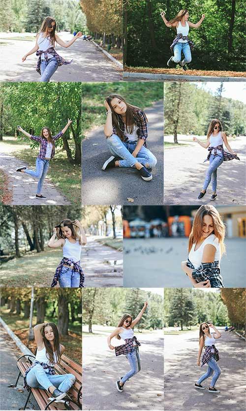 Весёлая и активная девушка - Клипарт / Cheerful and active girl - Clipart