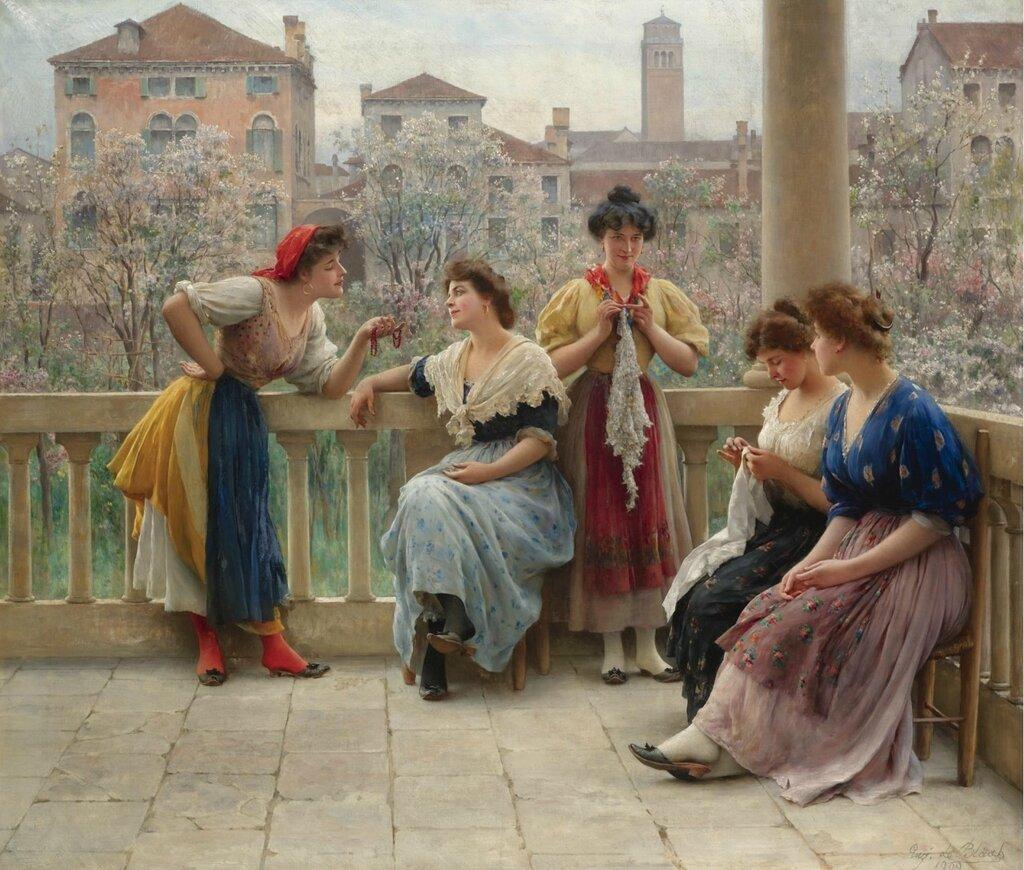 Разговор на террасе в Венеции. 1909. 90.5 х 104.5 см..jpg