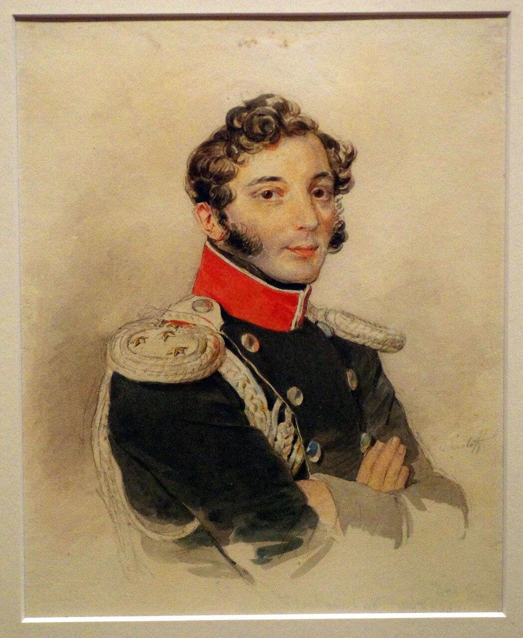 Петр Федорович Соколов. Портрет неизвестного обер-офицера. 1820-е