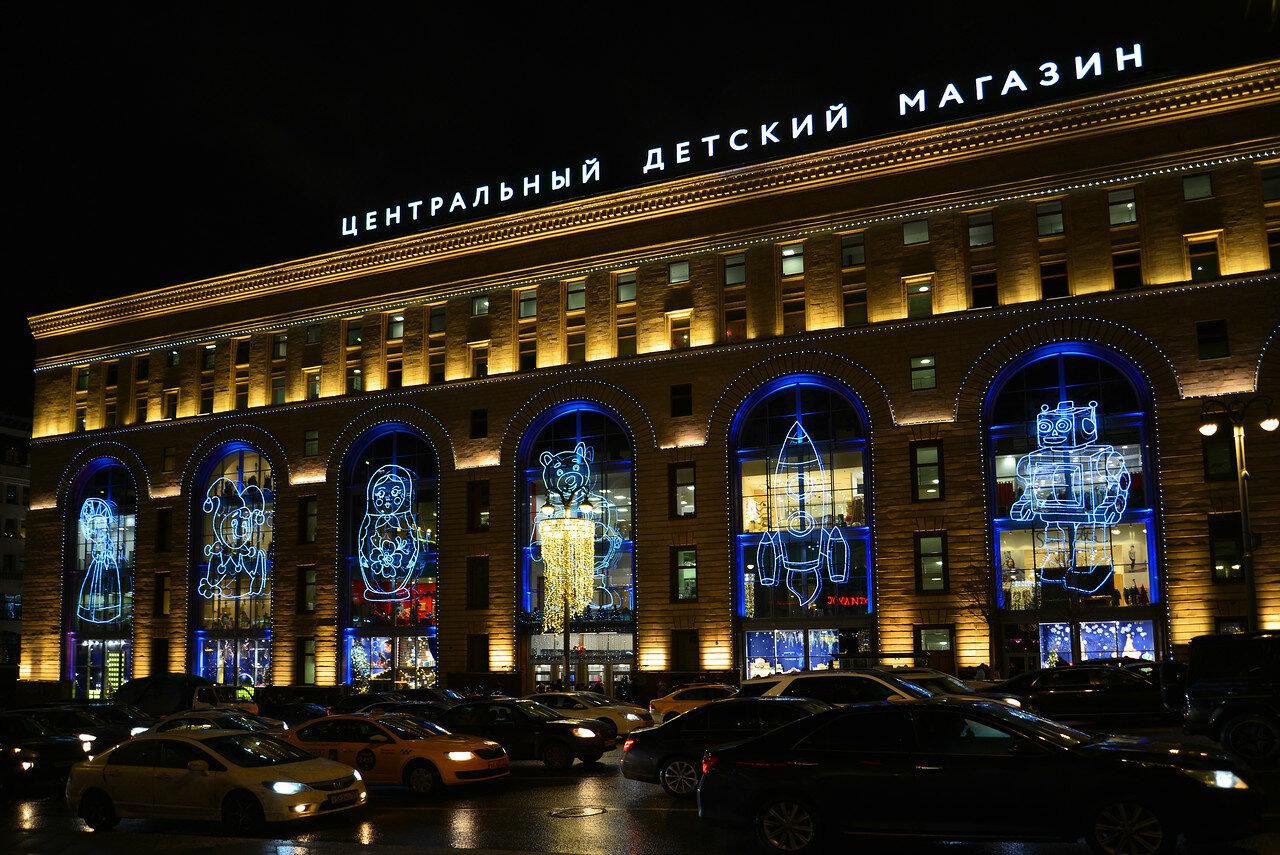 Новогодние декорации, иллюминация в Москве