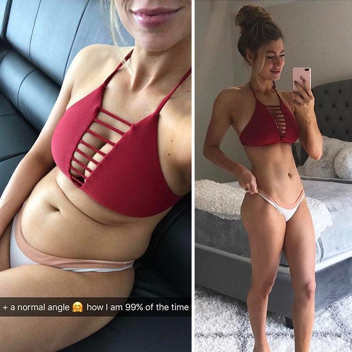 Ложные фотографии в стиле до и после похудения