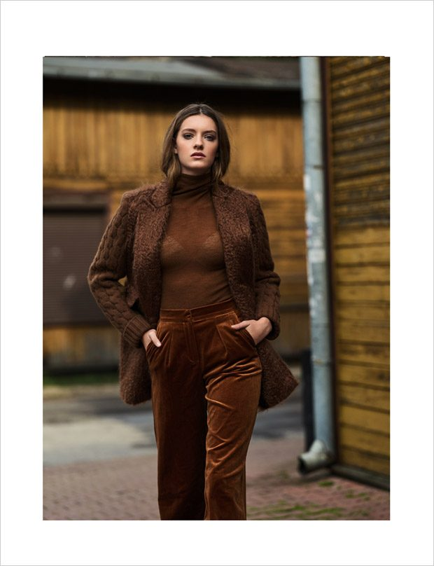 high neck jumper, jacket: Max Mara pants: Stella Jean