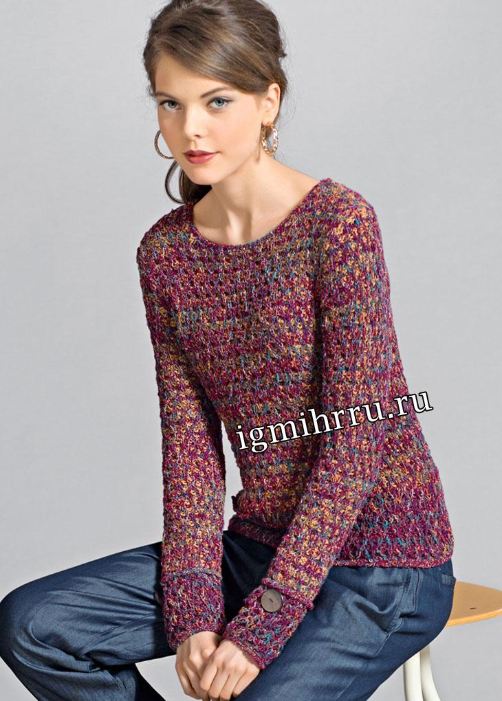 Меланжевый пуловер с узором из снятых петель. Вязание спицами