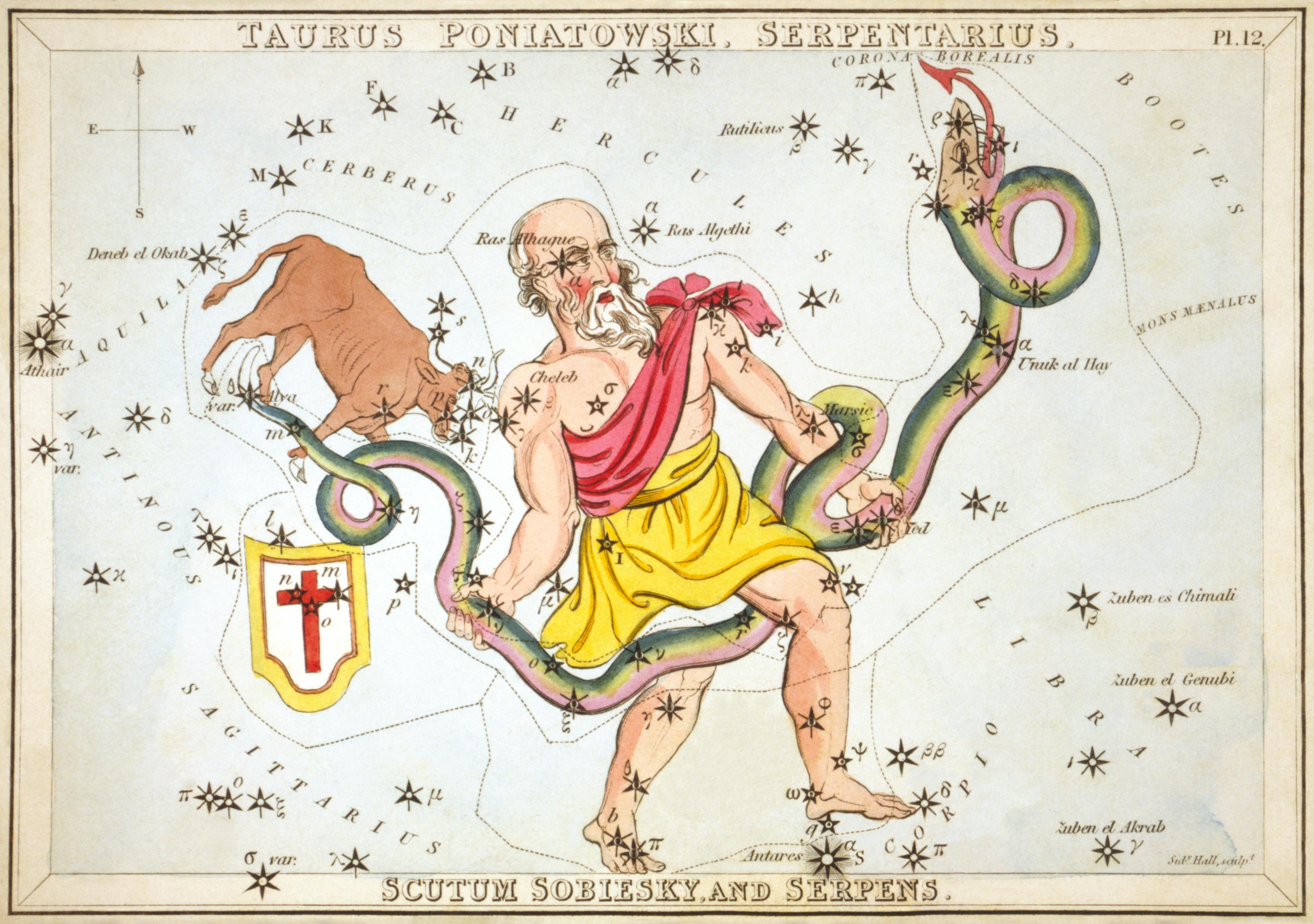 Карточка №12: Телец Понятовского, Змееносец, Щит Собеского, и Змея
