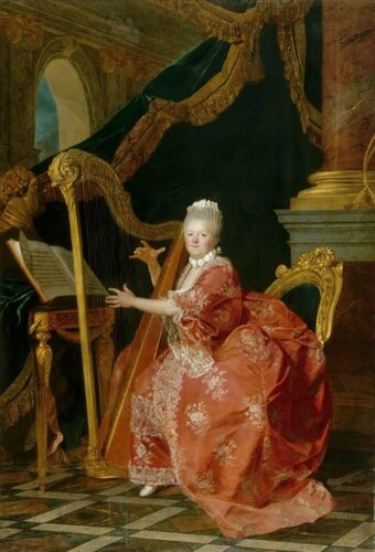 Etienne Aubry (French, 1745–1781) A Portrait of Madame Victoire playing the Harp. 1773