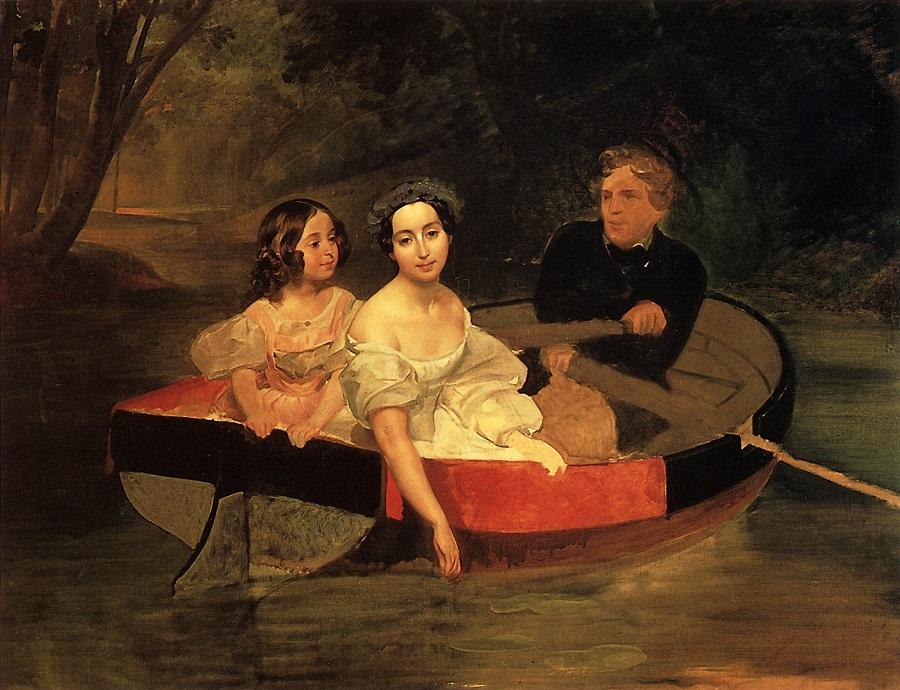Портрет автора и баронессы Е.Н.Меллер-Закомельской с девочкой, в лодке. 1833-1835 Государственный Русский музей, С.-Петербург