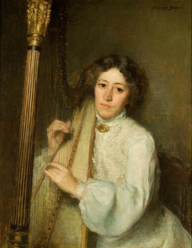Alphonse Jongers (American, 1872-1945) The Harpist (A Portrait of Florence Griswold). 1903