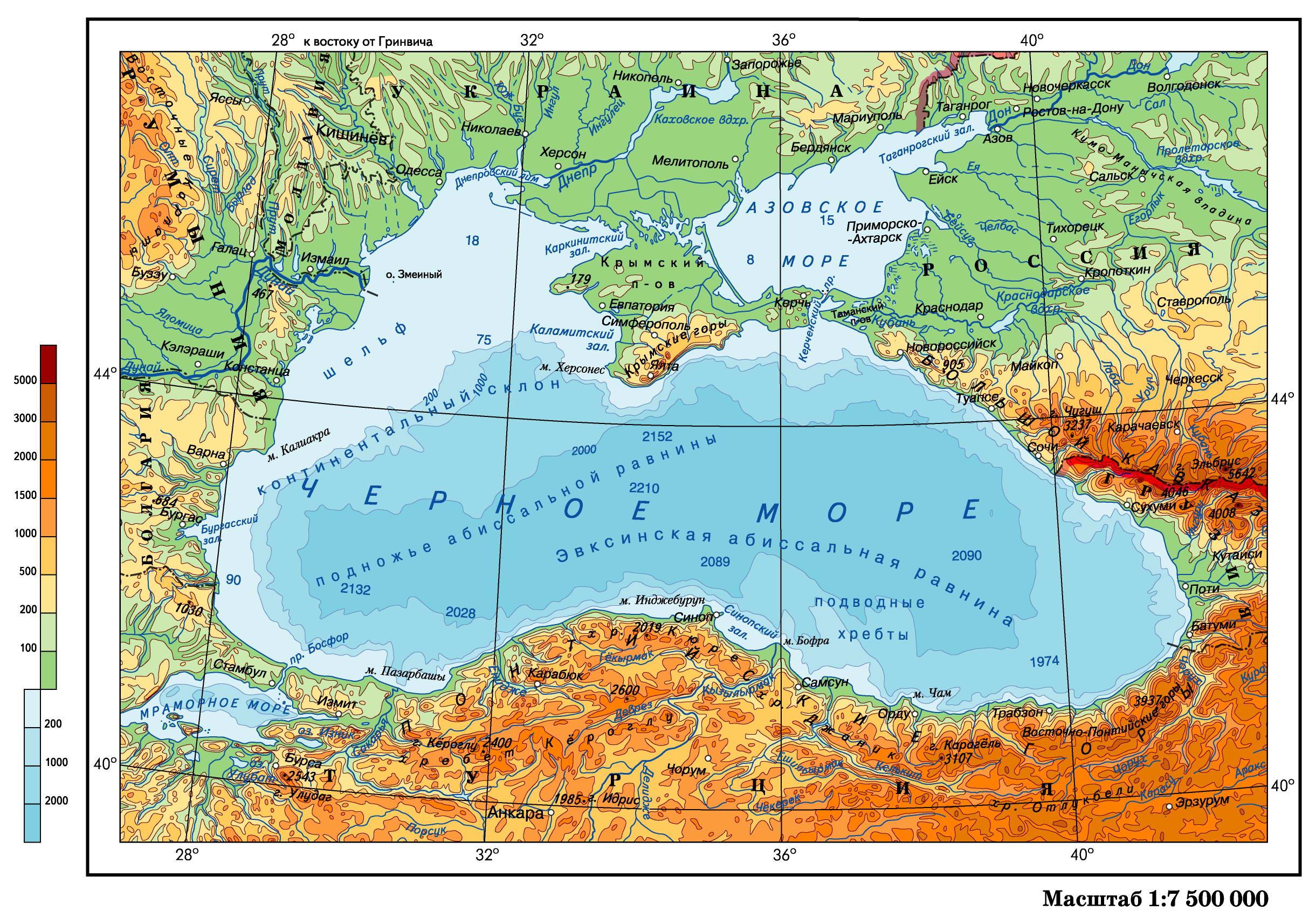 День Черного моря. Карта географическая