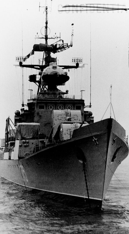 Near bows on view of a Soviet Baltic fleet Riga class ocean escort, photographed during 1964 in the Baltic.