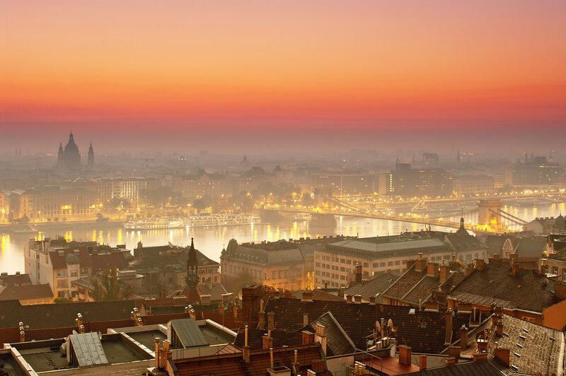 Панорама города Будапешт на рассвете