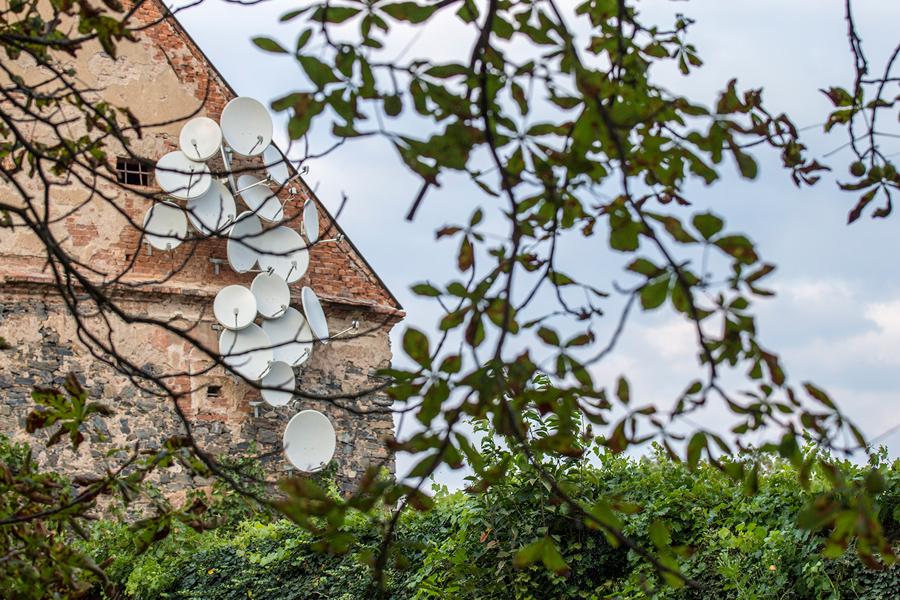 Recent Surveillance Camera and Satellite Dish 'Nests' by Jakub Geltner