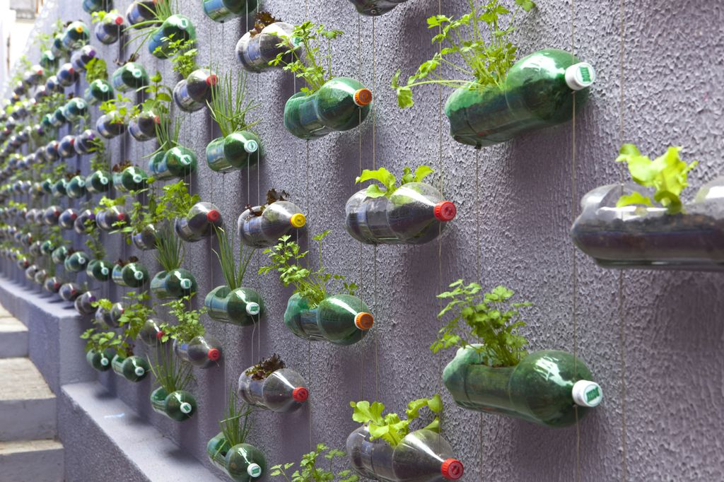 Urban Vertical Garden Built From Hundreds of Recycled Soda Bottles (8 pics)
