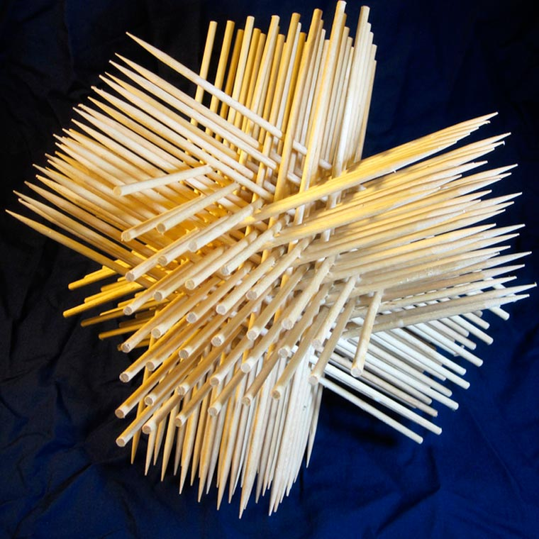 An engineer likes to create geometric structures with his office supplies