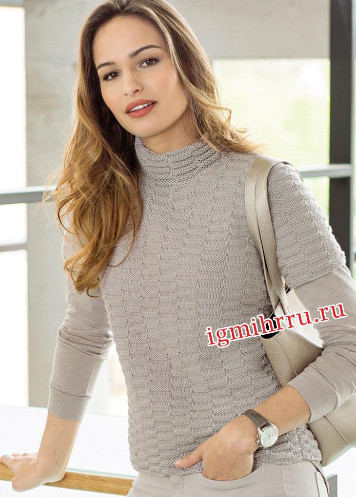 женский вязаный спицами пуловер изнаночной вязкой должен вспомнить