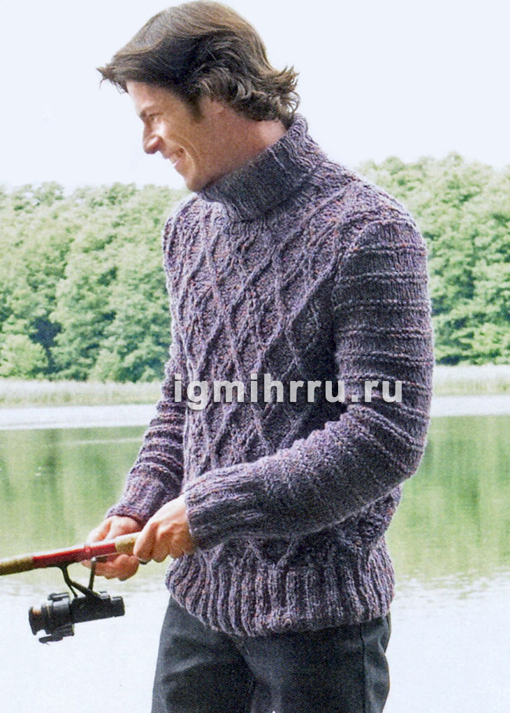 Мужской теплый свитер с узором из ромбов. Вязание спицами