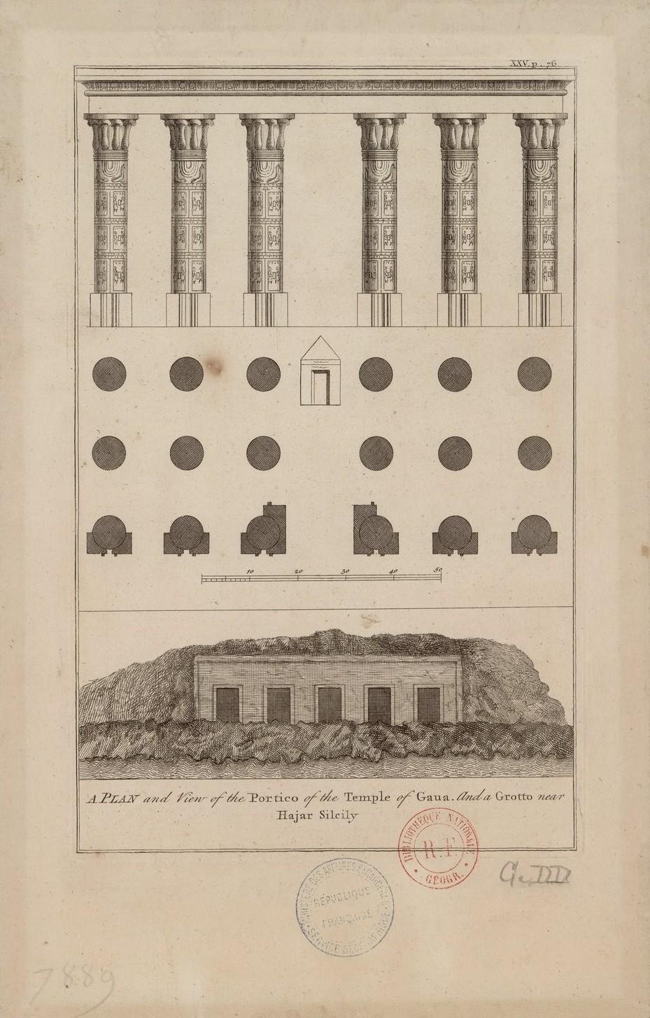 План и вид портика храма Гауа и грота возле Джебель-Баркал