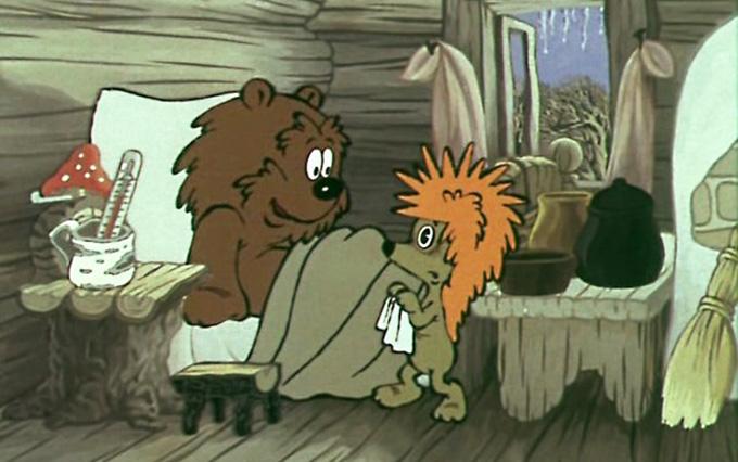 — Что ты здесь делаешь? — спросил Медвежонок. — Жду, когда ты выздоровеешь, — ответил Ёжик. — Долго?