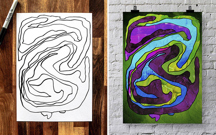 3 Years Old Boy's Drawings turned into Paintings by his Father