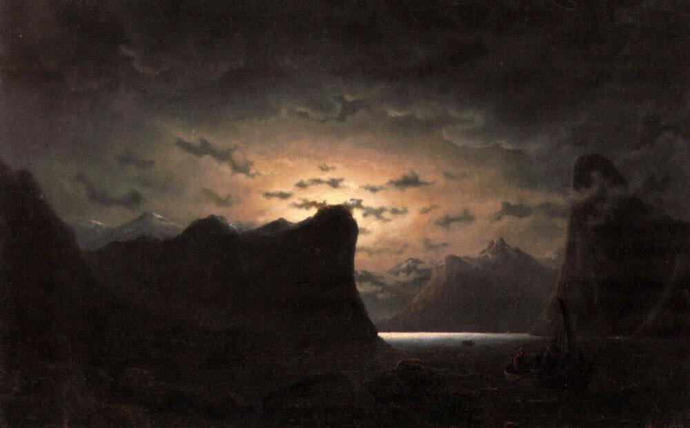 Рыбалка возле фьорда под лунным светом