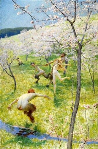Max Pietschmann (1865 – 1952, German)   Dance Of Satyrs And Nymph In A Spring Landscape