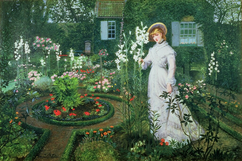 1877_В пасторском саду, королева лилий. 82.8 x 122 см. Престон, Музей искусств.jpg