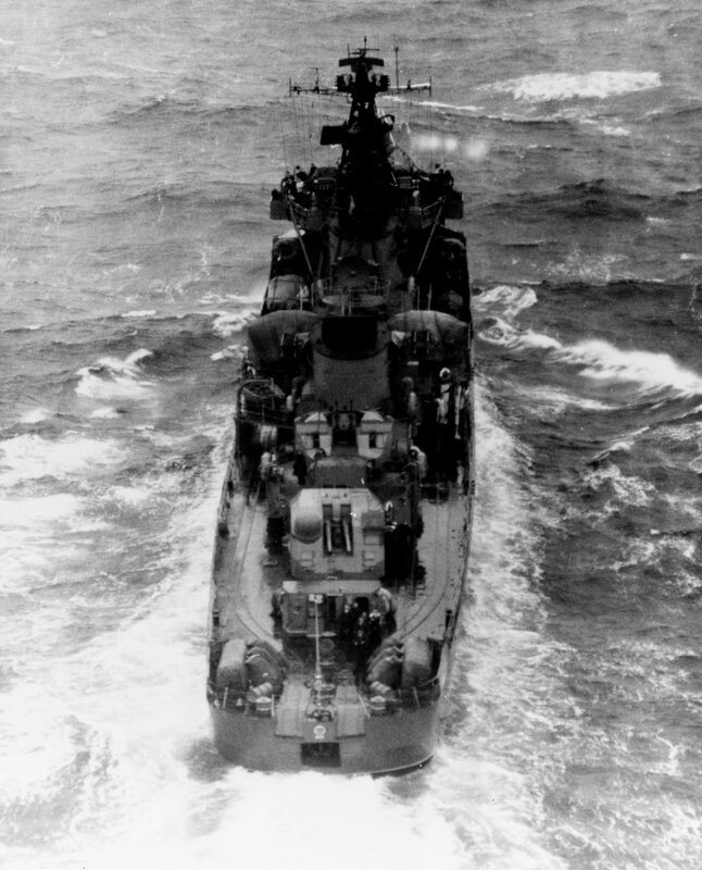 Stern view of a Soviet Pacific Fleet KOTLIN Class Destroyer, photographed during July 1965, southeast of Kamchatka Peninsula, in position 50-50 North, 168-02 East. The ship was wearing pennant number 047 at the time of this photography.