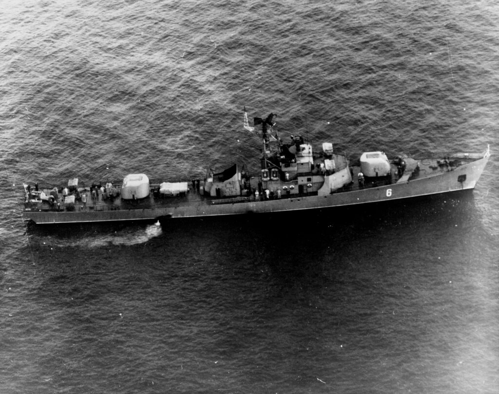 Soviet Petya Class Ocean Escort, photographed on 27 September 1964 in the Western Mediterranean in position 36-01 North, 002-43 West, by U.S. Navy Aircraft of Patrol Squadron (VP) 7.
