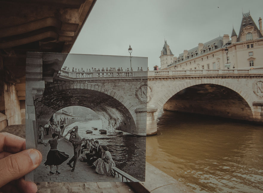 Окно в прошлое: житель Баку комбинирует старые фото с современными видами (24 фото)