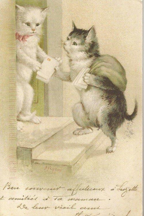 Старинные открытки котов