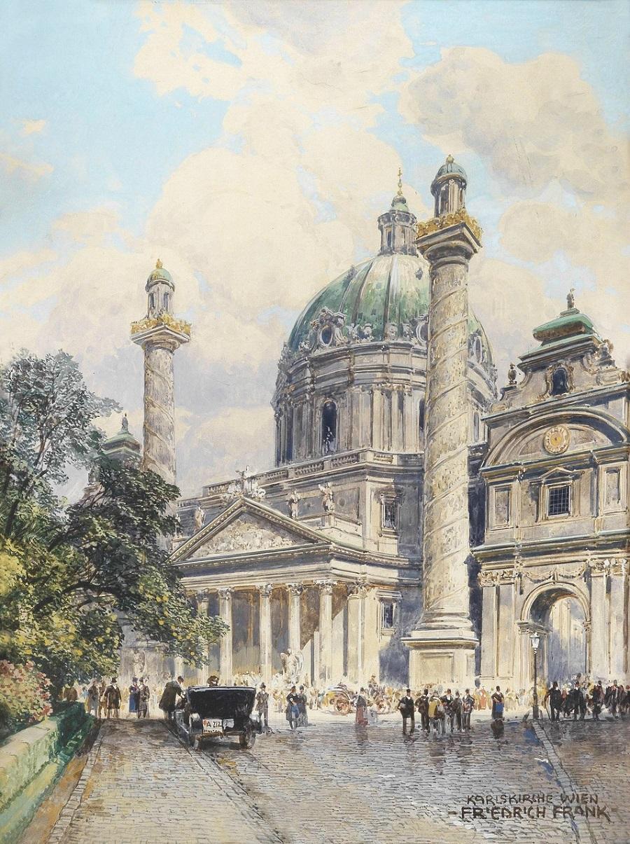 Аукционно-Акварельно-Архитектурное в коллекцию...Художник Friedrich Frank (Austrian, 1871-1945)