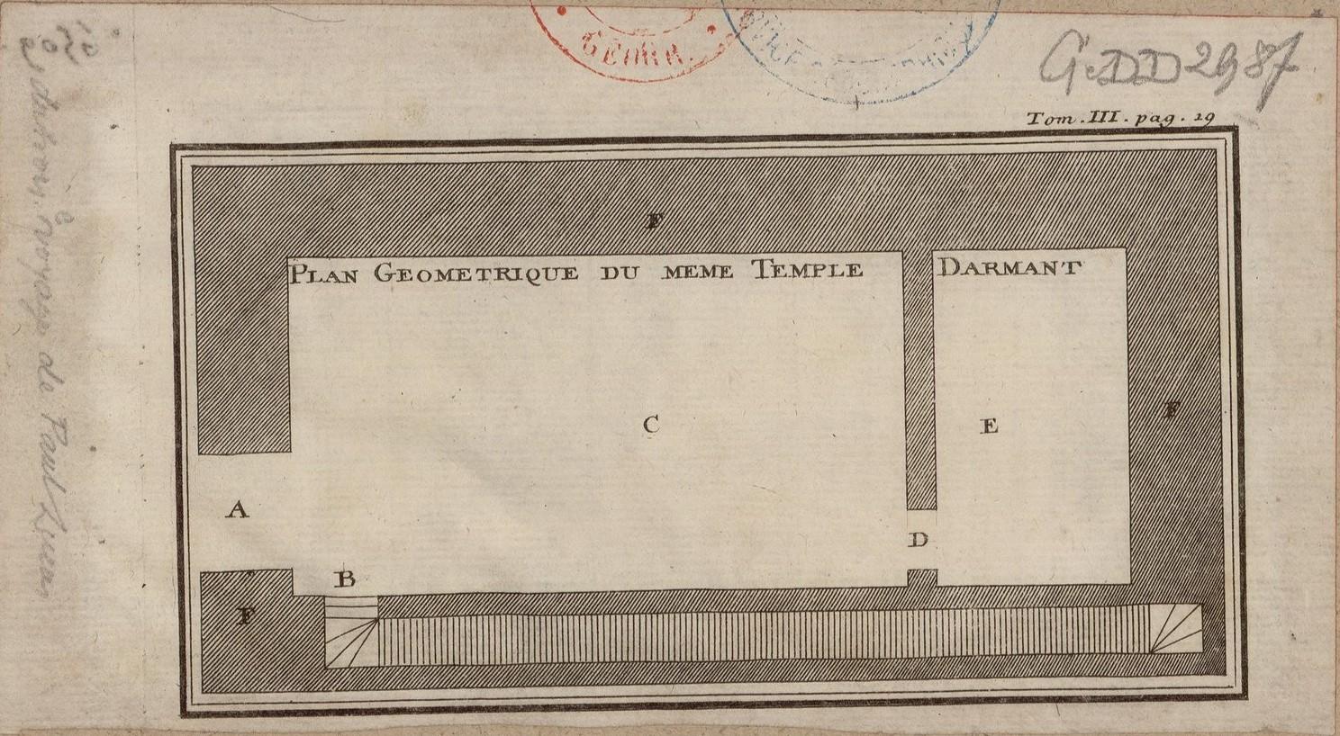 Вид храма Дарманта в Верхнем Египте. Геометрический план