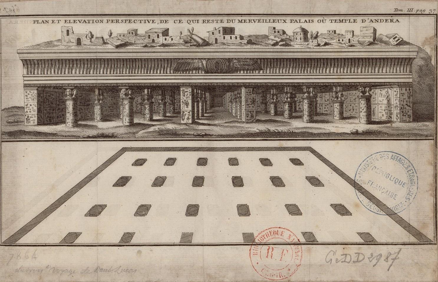 План и вид того, что осталось от чудесного дворца или храма Дандеры