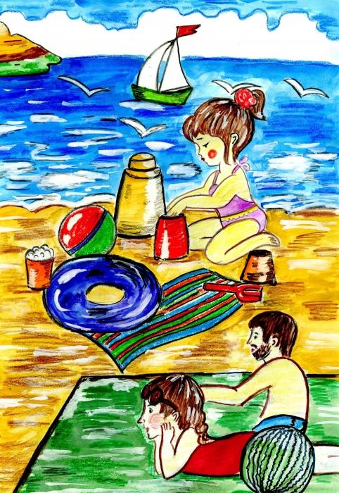 Отдых на Черном море. Детский рисунок