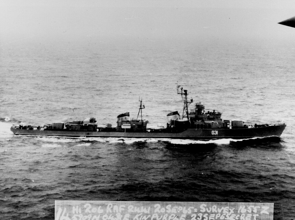 Soviet SKORYY Class Destroyer, photographed on 20 September 1965 at 1655 hours Zulu time, in position 59-09 North, 04-31 East, in the Southern Norwegian Sea.